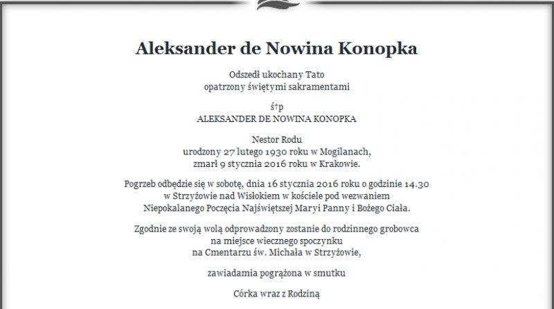 Zmarł Aleksander Nowina Konopka
