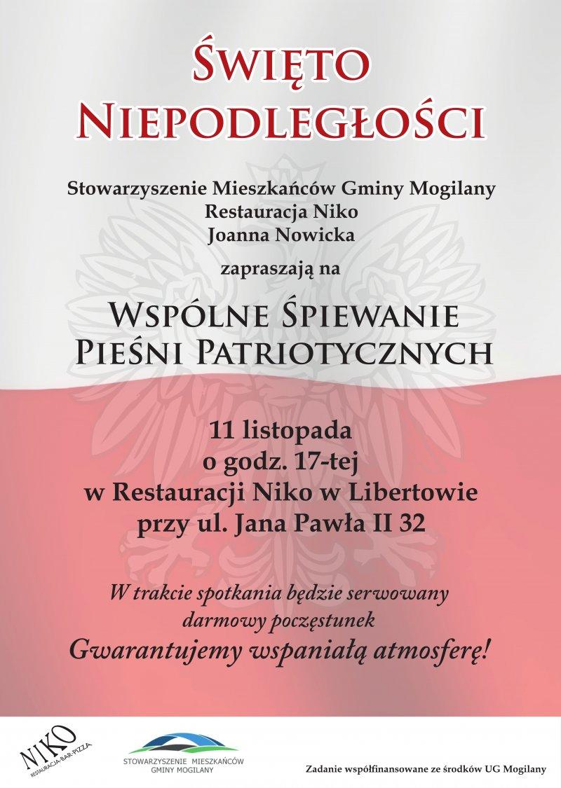 11 listopada - zaproszenie na patriotyczne śpiewanie