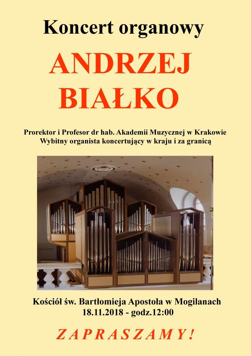Koncert organowy prof. Andrzeja Białko w Mogilanach